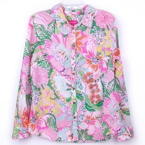 Lilly Pulitzer Floral Tropical Button Down Shirt